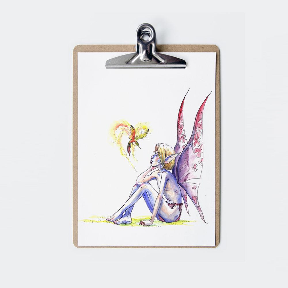 illustration aquarelle elfe