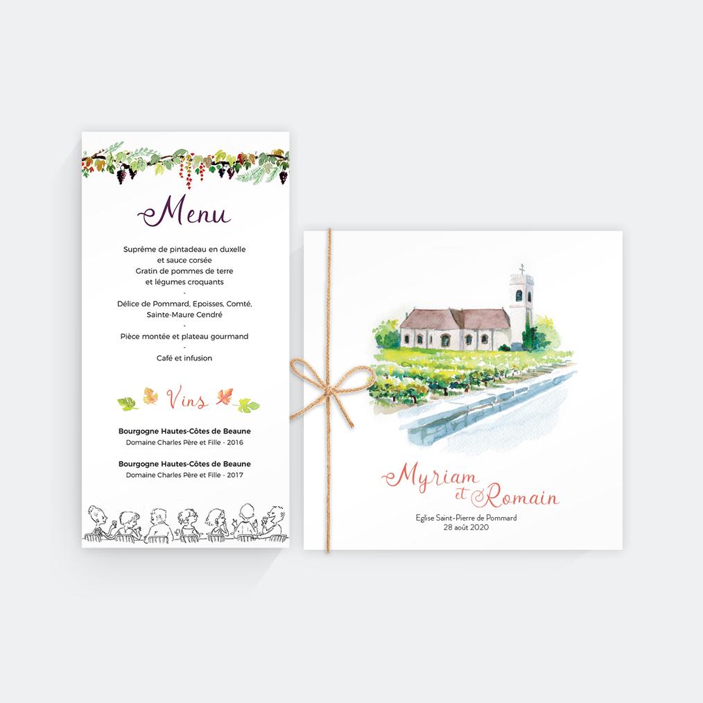 menu et livret de messe mariage bourgogne